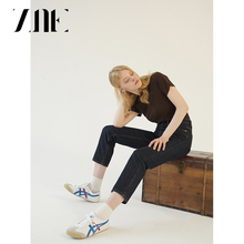 ZNE Jeans high-waisted retro texture primary color dark blue copper buckle straight straight slim slimming jeans 733