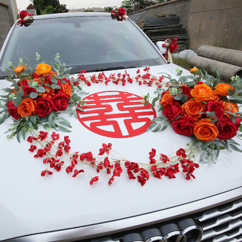 Wedding car decoration main car head flower knot wedding supplies Chinese wind red creative set red pull flower simulation