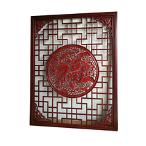 Hollow partition screen Screen Chinese decorative living room Xuanguan dressing room background wall carved board window solid wood flower grid