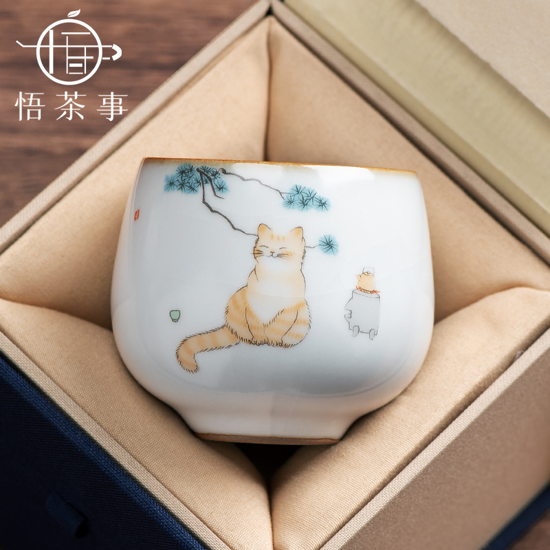 Open film can raise the kiln ceramic master cup kung fu tea set small tea cup Zen large single cup tea lamp personal cup girl