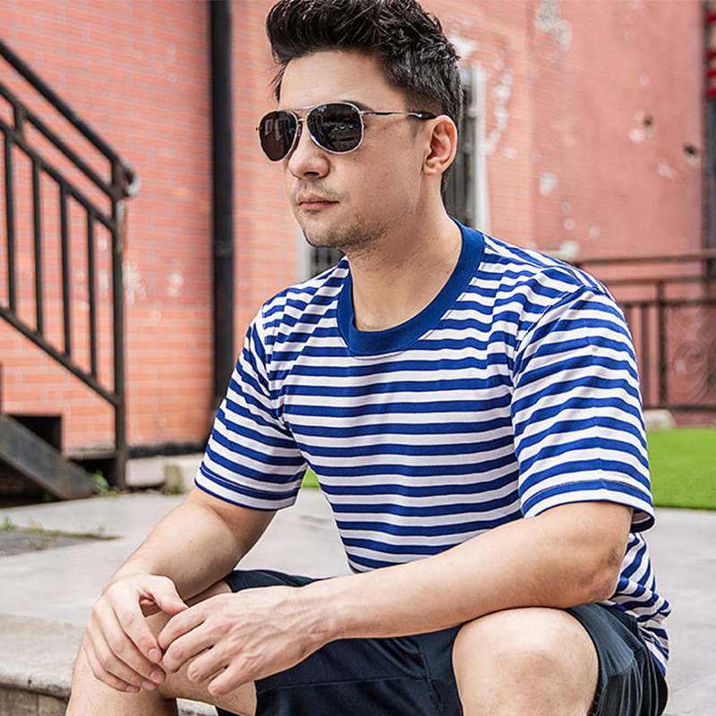 Sea soul shirt suit mens summer short-sleeved fitness training clothes tactical half-sleeve t-shirt round collar striped t-shirt girl
