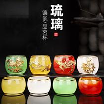 Gold Agate Glass Teacup Jade Master Cup Tea Cup Household Gongfu Tea Set Tea light Single cup