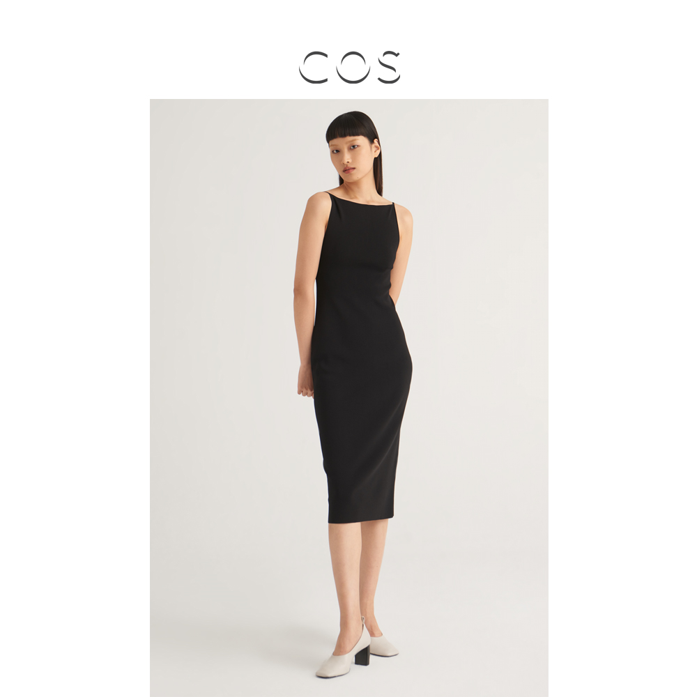 COS womens body knitted sling dress black 2020 early autumn new product 0920085002