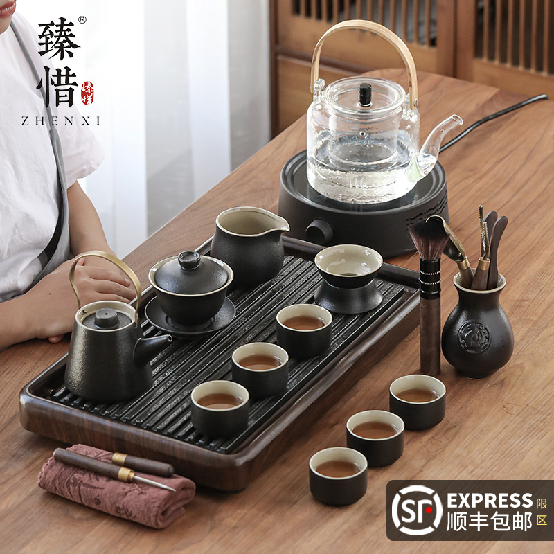 Yu Kung Fu tea set electric pottery stove all-in-one tea plate set home living room Wujinshi small tea table guest office