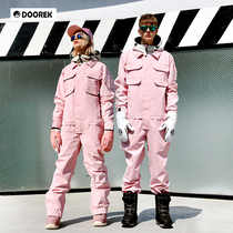 18DOOREK new mens and womens uniform ski suit set waterproof breathable tide brand conjoined snow leather powder