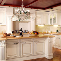 Ouruiyu state Overall Cabinet custom kitchen custom European white oak solid wood door plate quartz Table kitchen cabinets