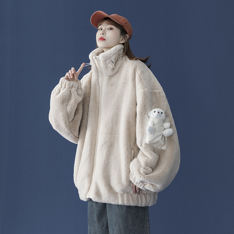 Cub cotton dress women 2020 new Korean version of loose student winter lamb wool coat thick cotton tide