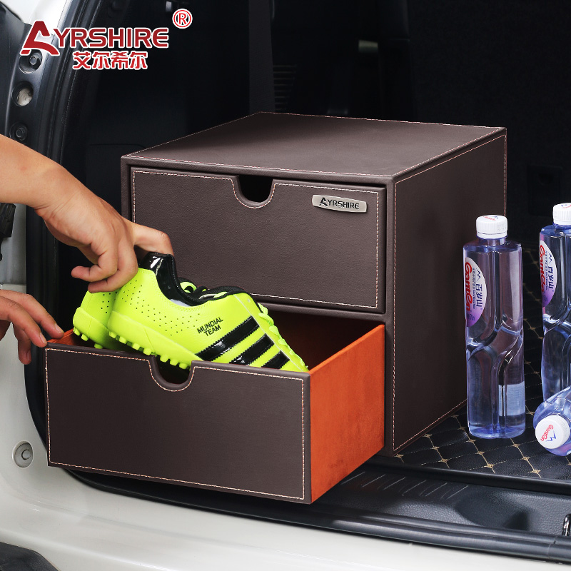 Car back box storage tail box car finishing luggage box Mercedes-Benz interior supplies luggage second-floor cabinet