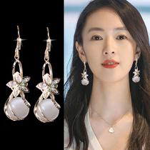 Opal earrings 2021 new trend drop earrings temperament high sense atmospheric sterling silver Korean net safflower earrings