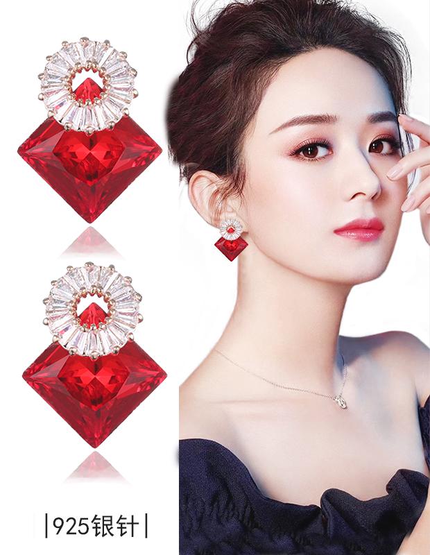 Red earring temperament high-level atmosphere 2021 new tidal zircon earrings pure silver Korean net red earrings