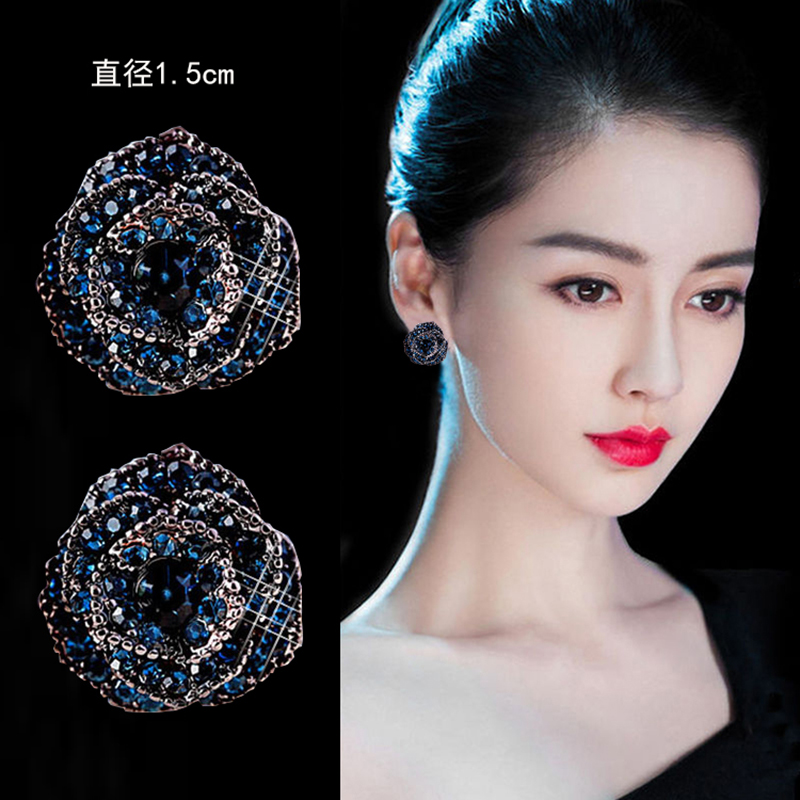 Rose studs womens pure silver minimalist personality earrings 2021 new trendy blue high-end earrings retro