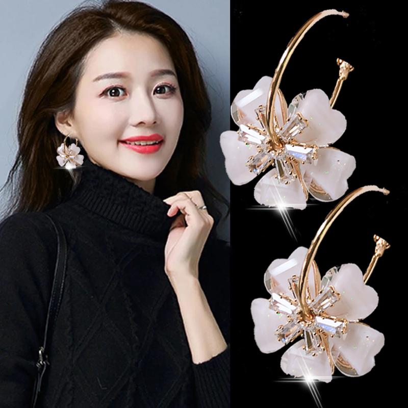 High-level earrings 2021 new trendy Korean temperament earrings womens net red flower crystal earrings temperament fashion