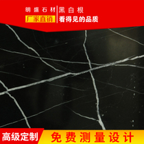 Ming Sheng Stone black and white root natural imported marble products custom-made background wall door cover windowsill through the stone block water