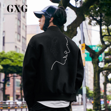 GXG men's jacket jackets, men's autumn new Korean version, fashion trend chic baseball suit, woolen jacket jacket, man