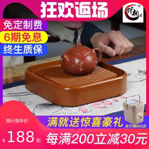 The simple dry foam table mini water storage glue wooden pot tows one person with kung fu round pot
