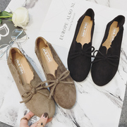2017 new flat shoes female students all-match round spring le fu shoes with flat bow shoes retro.