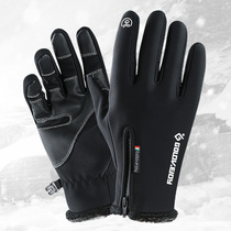 Scratch touch screen outdoor warm gloves electric vehicle cold thickening men and women winter bike riding protective gloves