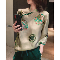Silk BOYAN even green glass~14 mmi silk printing oblique lapel Chinese border-trimmed top National style womens clothing