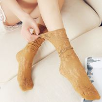 3 pairs of socks womens autumn and winter stockings Korean version of the personality trend japanese hollow mesh lace pile socks.