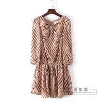 Hundred series of spring and summer genuine counters womens beige polka-dot Commuter garden wind dress 32183