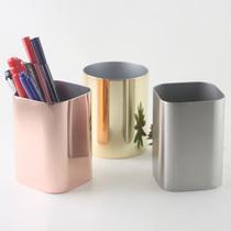 出口德国 加厚304不锈钢笔筒 金属创意时尚经典方形化妆刷筒