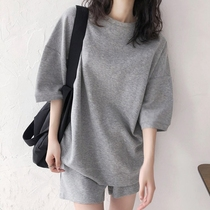 Counter 2021 Simple loose casual sports suit womens Korean edition short-sleeved t-shirt college style shorts two-piece summer