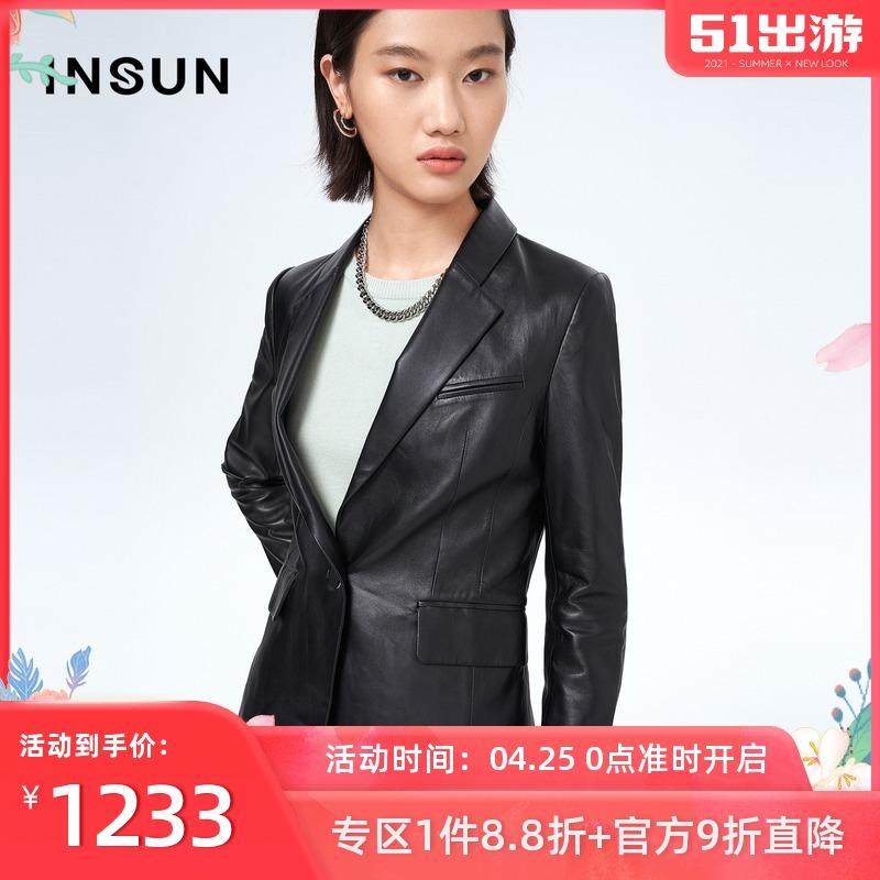 Enshang Kou winter new fashion pure classic color suit sheepskin one button business jacket female