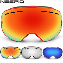 Nespio Ski mirror Adult double-layer anti-fog men and women outdoor mountaineering ski eye equipment can be card myopia