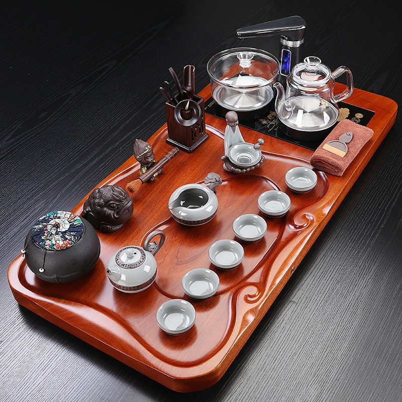 Guangu Kung Fu tea set home pear solid wood tea plate automatic four-in-one household simple glass appliances