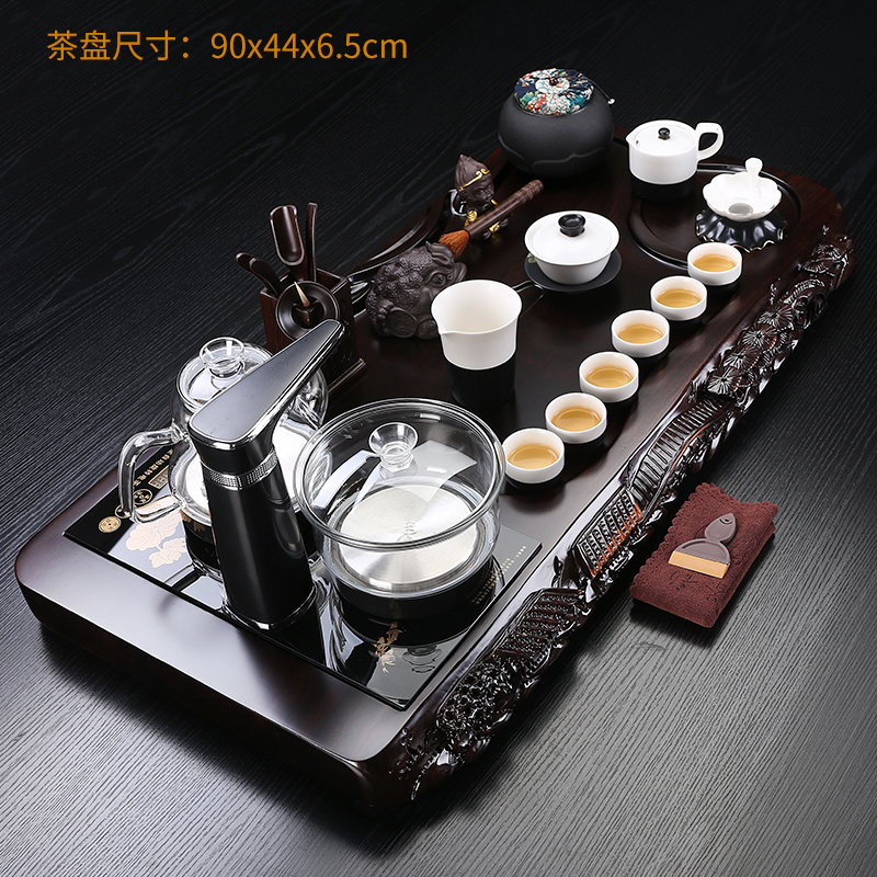 The whole set of kung fu tea sets ebony solid wood hand-carved tea plate ceramic home fully automatic four-in-one simplicity