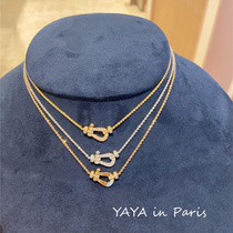 Fred Fred Force Series Horseshoe Buckle Pendant Necklace 18K gold with diamonds Small collarbone chain Women