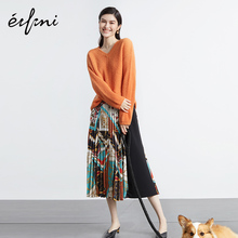 He Sui-tong Evelie Half-length Skirt New Autumn Skirt 2019 Printed Chiffon A-shaped Skirt with High Waist and Pleated Skirt