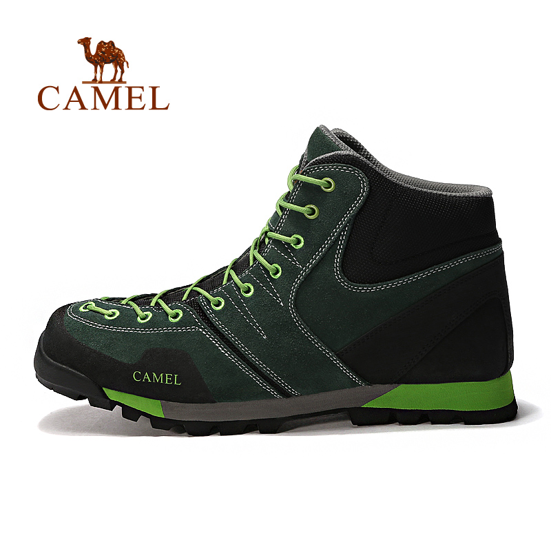 [Broken code clearance] camel outdoor walking shoes male high-top belt with matte leather wear-resistant shock-absorbing shoes walking shoes