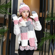 Warm in winter with cashmere wool scarf hat gloves three piece suit to send his girlfriend a birthday gift for Christmas tide Han