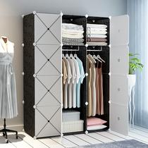 Armoire simple assemblage tissu moderne minimaliste location Chambre Chambre Maison Armoire suspendus imitation en bois massif Armoire de rangement
