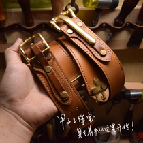 Ka zi studio Italian tanning cavalry buckle handmade belt Littleton Cavalry buckle Leather Cowhide belt