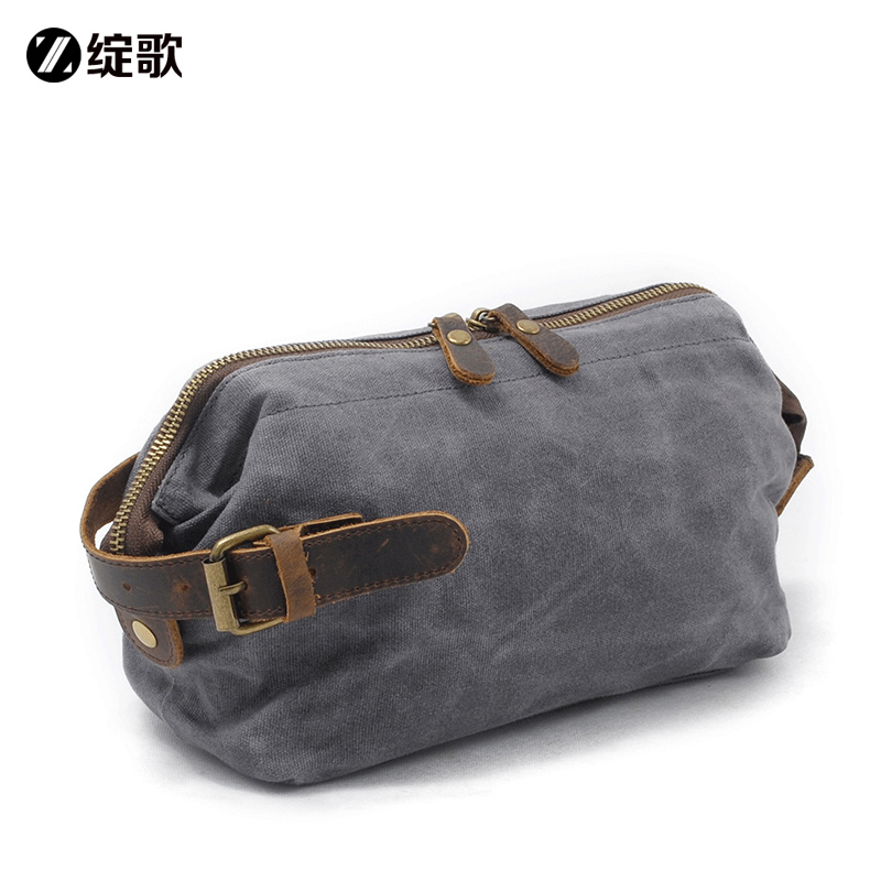 Song song, leather wash bag, men's waterproof cosmetic bag, portable travel business, storage bag