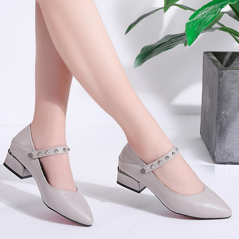 Shoes Female Autumn 2019 New Rough-heeled Korean Single Shoes Female Genuine Leather Fashion Shallow-mouthed Point Medium-heeled Women's Shoes