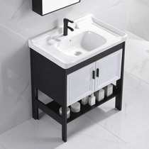 Floor-to-ceiling washbasin cabinet combination impotence ceramic stand washbasin powder room small household washbasin pool plate