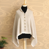 Double thick 100% cashmere cloak colored knit button shawl Cape coat both sides of dual-use scarf women