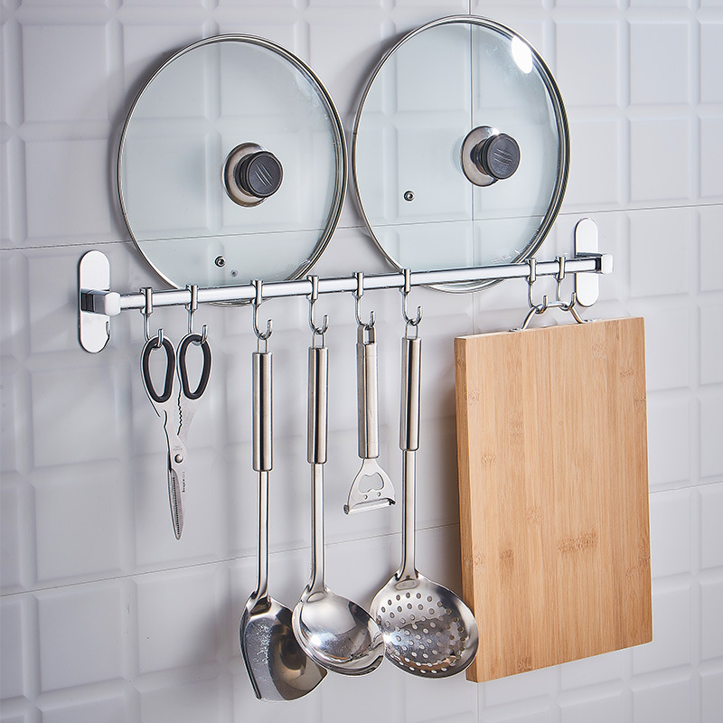 Stainless steel wall-mounted multi-functional movable hook-type row-hook rod-mounted hanger for perforation-free kitchen hanging rod