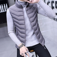 Down cotton vest men's spring and autumn winter jacket men's thermal vest handsome thin waistcoat Korean version of the trend