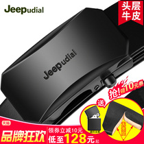 Jeepudial Belt male Leather automatic buckle mens head layer Pure cowhide belt business Leisure Youth Genuine