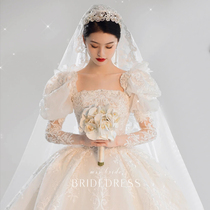 (Autumn language) wedding dress 2021 new bride French high-end temperament luxury long-sleeved tail out gauze princess style