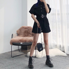 Handsome overalls women summer 2019 New Black Slim high waist short sleeve overalls wide legs shorts suit