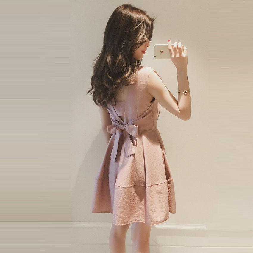 2020 Summers new sweet little fresh-faced waist-thin sleeveless vest skirt with a small sling dress