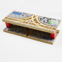 Wooden train track building blocks Bulk accessories Transportation hub Double-decker T-rail station Compatible with solid wooden train