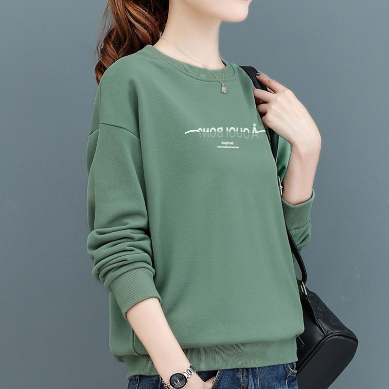 Plus-velvet womens autumn winter 2020 new Korean version of loose-fitting round collar head long-sleeved letter cotton top tide