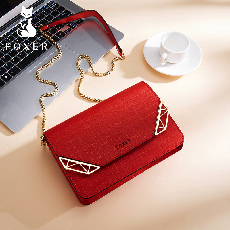 Golden Fox Texture Bag Lady Bag New Fashion Summer 2019 Simple Chain Slant Single Shoulder Bag