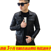 Leather jacket slim male Korean youth youth PU motorcycle jacket lapel spring tide 2017 NEW